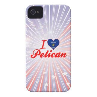 Amo el pelícano Wisconsin Case-Mate iPhone 4 Protectores