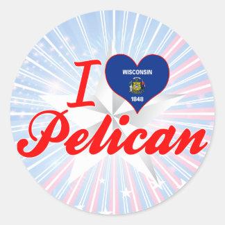 Amo el pelícano Wisconsin Pegatina
