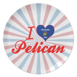 Amo el pelícano Wisconsin Plato Para Fiesta