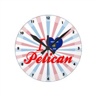 Amo el pelícano Wisconsin Reloj
