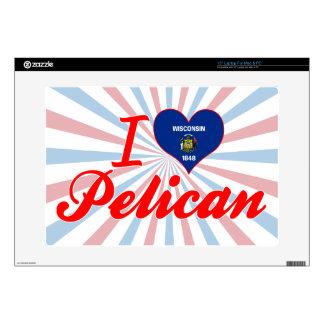 Amo el pelícano Wisconsin Portátil Calcomanías