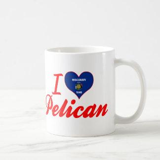 Amo el pelícano Wisconsin Tazas De Café