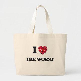 Amo el peor bolsa tela grande