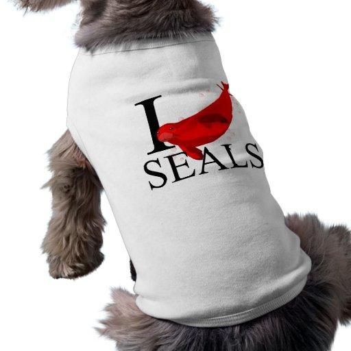 Amo el perrito de los sellos playera sin mangas para perro