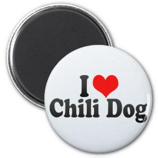 Amo el perro de chile imán redondo 5 cm