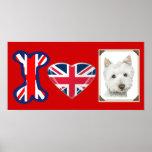 Amo el perro de Westie, poster de Union Jack