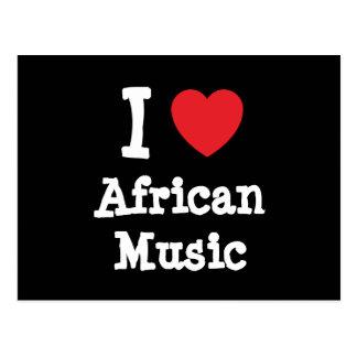 Amo el personalizado africano del corazón de la postales
