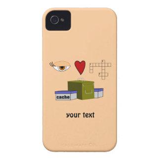 Amo el personalizado Blackberry de Geocaching de iPhone 4 Case-Mate Protector
