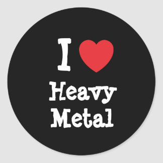 Amo el personalizado de metales pesados del pegatina redonda
