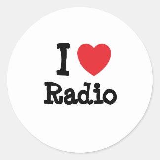 Amo el personalizado de radio del corazón etiquetas redondas