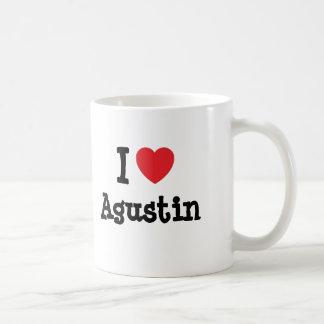 Amo el personalizado del corazón de Agustin person Taza De Café