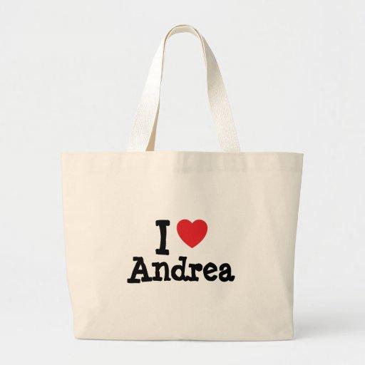 Amo el personalizado del corazón de Andrea persona Bolsas
