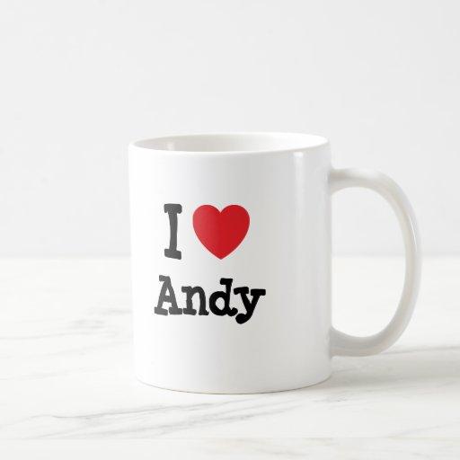 Amo el personalizado del corazón de Andy personali Tazas