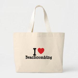 Amo el personalizado del corazón de Beachcombing p Bolsas De Mano