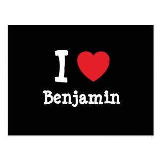 Amo el personalizado del corazón de Benjamin perso Postal
