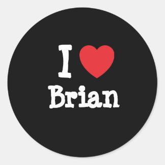 Amo el personalizado del corazón de Brian personal Etiquetas