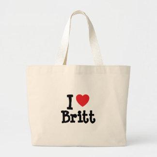 Amo el personalizado del corazón de Britt personal Bolsas Lienzo