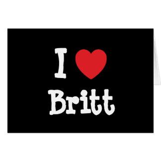Amo el personalizado del corazón de Britt personal Tarjetón