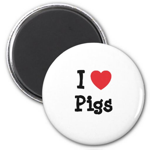 Amo el personalizado del corazón de cerdos persona imanes para frigoríficos