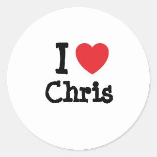 Amo el personalizado del corazón de Chris Etiquetas Redondas