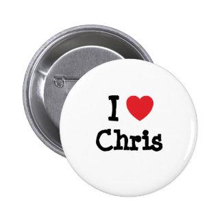 Amo el personalizado del corazón de Chris personal Pin Redondo 5 Cm