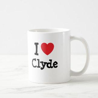 Amo el personalizado del corazón de Clyde personal Tazas De Café