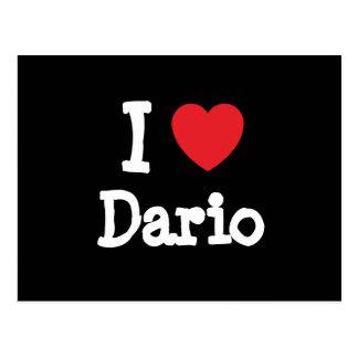 Amo el personalizado del corazón de Darío Tarjetas Postales