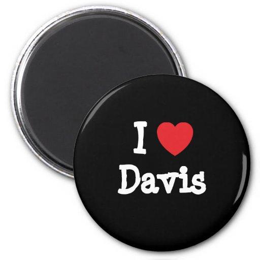 Amo el personalizado del corazón de Davis personal Imán De Nevera