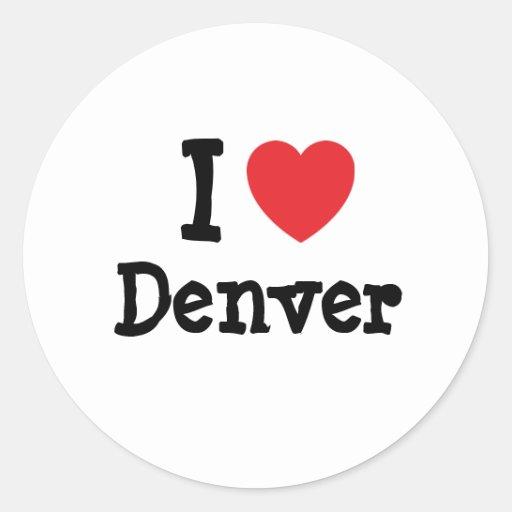 Amo el personalizado del corazón de Denver Pegatina Redonda