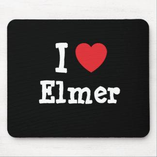 Amo el personalizado del corazón de Elmer personal Tapete De Raton