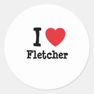 Amo el personalizado del corazón de Fletcher Pegatina Redonda