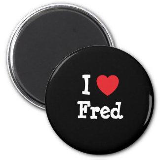 Amo el personalizado del corazón de Fred personali Imanes De Nevera
