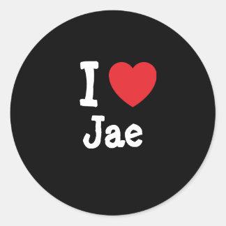Amo el personalizado del corazón de Jae Pegatina Redonda