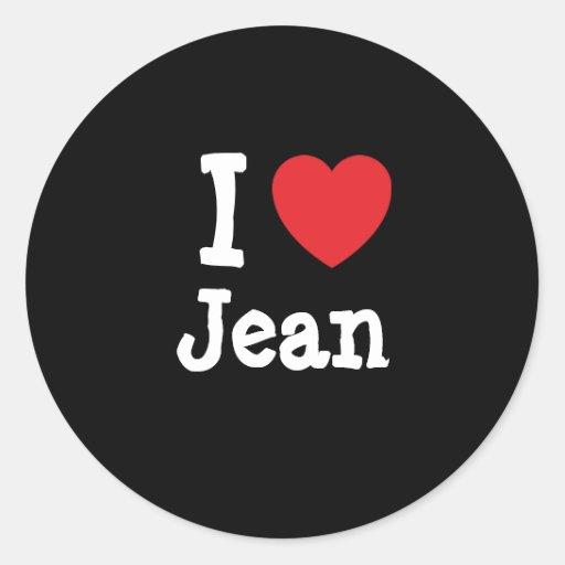 Amo el personalizado del corazón de Jean Pegatina Redonda