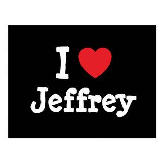Amo el personalizado del corazón de Jeffrey person Postal