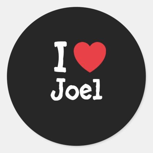 Amo el personalizado del corazón de Joel Pegatina Redonda