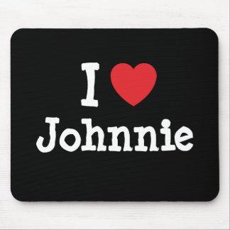 Amo el personalizado del corazón de Johnnie person Alfombrillas De Ratones