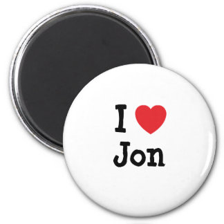 Amo el personalizado del corazón de Jon personaliz Imán Redondo 5 Cm