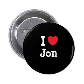 Amo el personalizado del corazón de Jon personaliz Pin Redondo De 2 Pulgadas