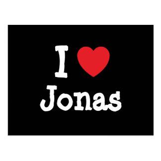 Amo el personalizado del corazón de Jonas personal Postales