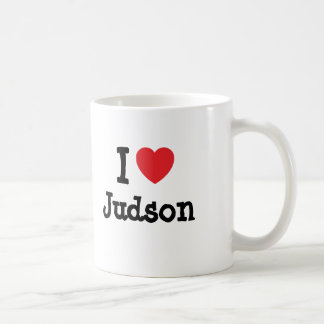 Amo el personalizado del corazón de Judson persona Taza