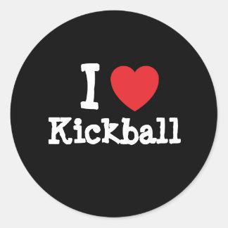 Amo el personalizado del corazón de Kickball perso Etiqueta Redonda