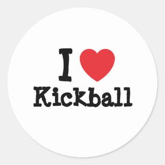 Amo el personalizado del corazón de Kickball perso Etiquetas Redondas