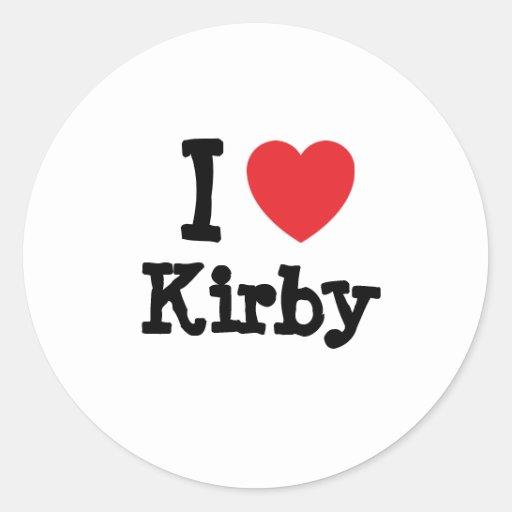 Amo el personalizado del corazón de Kirby Pegatina Redonda