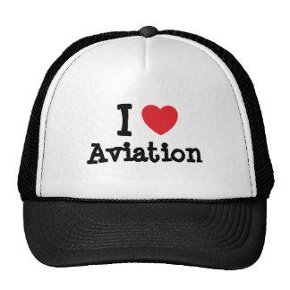 Amo el personalizado del corazón de la aviación pe gorros bordados