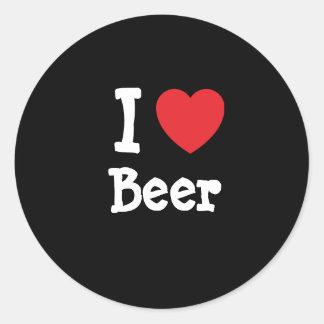 Amo el personalizado del corazón de la cerveza pegatina redonda