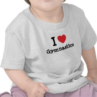 Amo el personalizado del corazón de la gimnasia pe camiseta