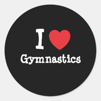 Amo el personalizado del corazón de la gimnasia etiquetas redondas