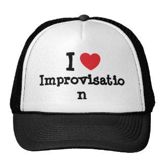 Amo el personalizado del corazón de la improvisaci gorros bordados