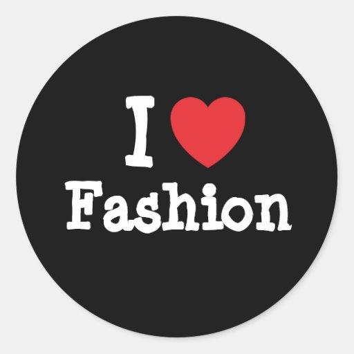 Amo el personalizado del corazón de la moda person etiqueta redonda